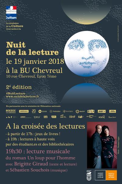 Affiche Nuit de la lecture 10 janvier 2018 BU Chevreul